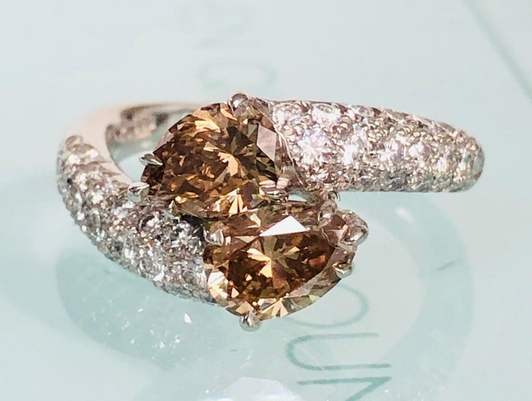 Pear Cut Platinum Bypass Ring with Natural Champagne Diamonds 1.53 Carat For Sale