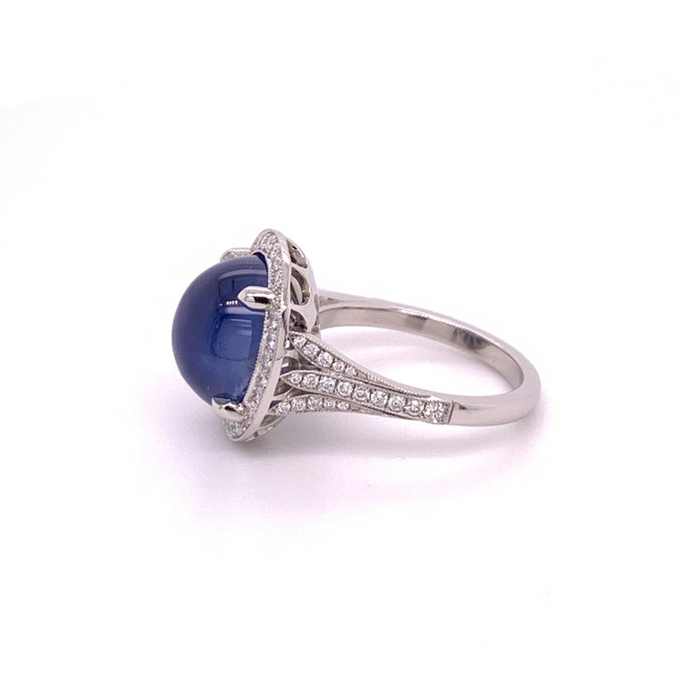 Women's Platinum Cabochon GIA 10.35 Carat Natural Star Sapphire Ring For Sale
