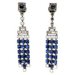Platinum Carre Diamond and Sapphire Art Deco Style Chandelier Earrings