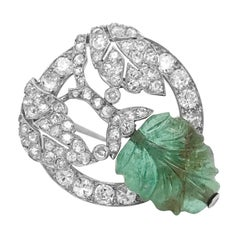 Platinum, Carved Emerald and Diamond Pin, Marchak, Paris