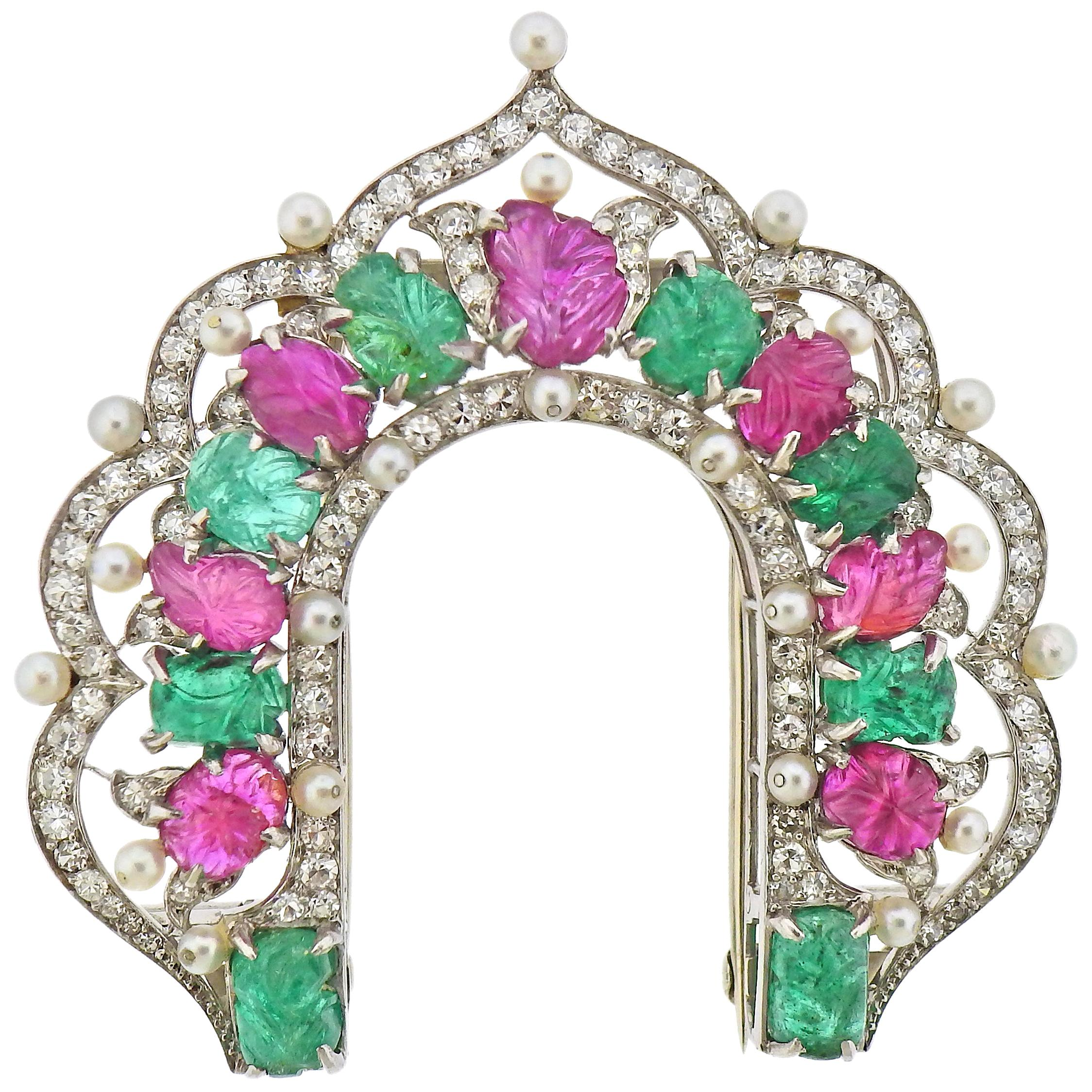 Platinum Carved Emerald Ruby Pearl Diamond Brooch