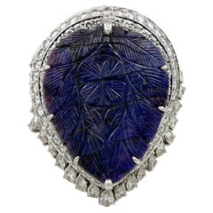 Carved 85 Carat Sapphire Diamond Ring