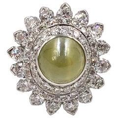 Platinum Cats Eye Chrysoberyl and Diamond Cocktail Ring