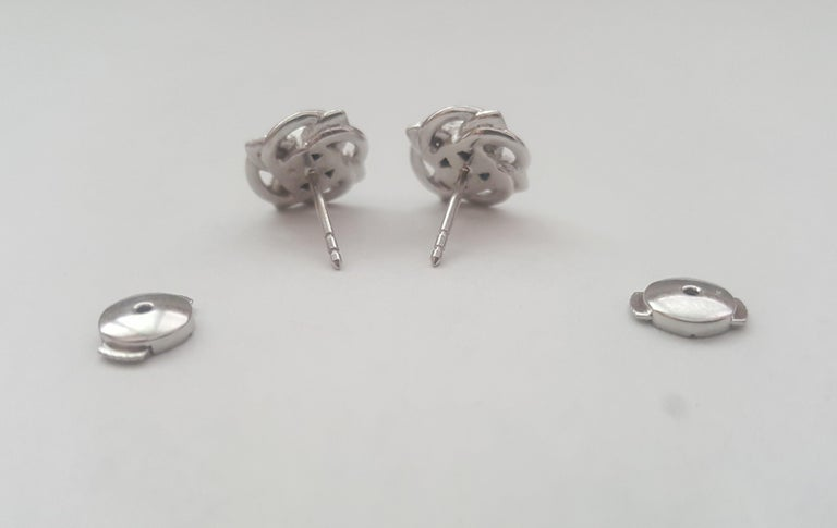 Platinum Celtic Knot Round Fine Ceylon Sapphire Earrings by Rock N Gold In New Condition For Sale In Rancho Santa Fe, CA