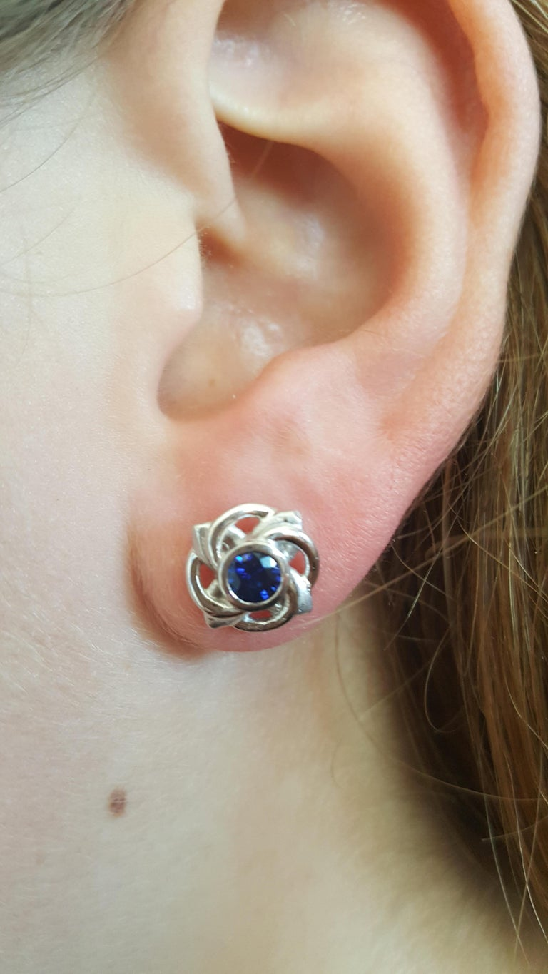 Platinum Celtic Knot Round Fine Ceylon Sapphire Earrings by Rock N Gold For Sale 1