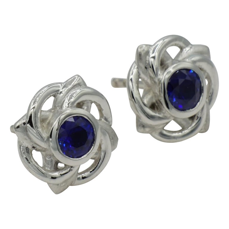 Platinum Celtic Knot Round Fine Ceylon Sapphire Earrings by Rock N Gold For Sale