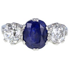 Certificated 3.75 Carat Natural Burma Blue Sapphire Diamond Three-Stone Ring