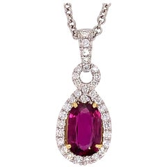 Platinum Certified 3.85 Carat Natural Diamond & Pink Sapphire Thai Ruby Pendant