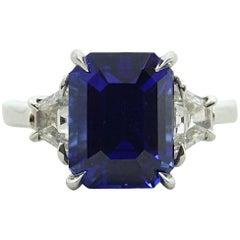 Platinum Ceylon Sapphire and Diamond Ring