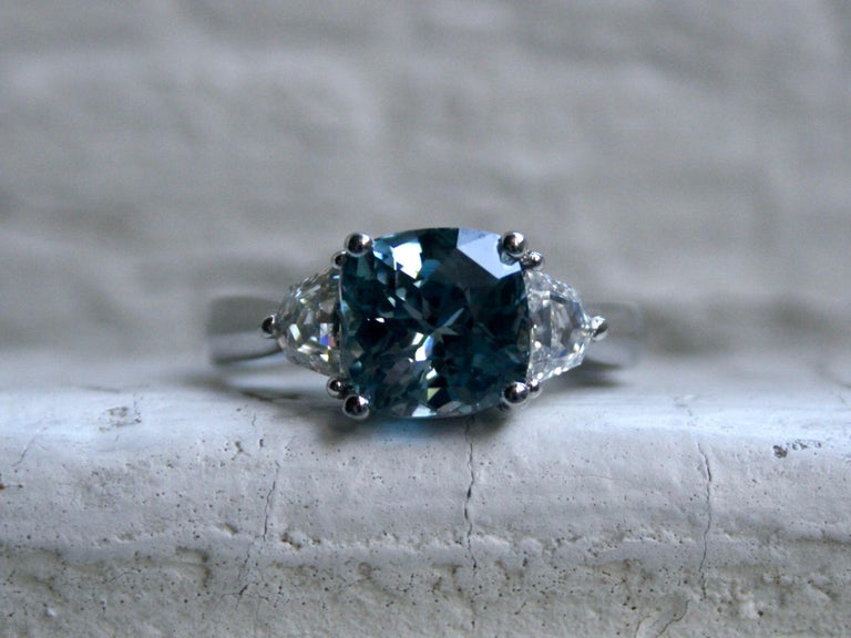 LOVE this Gorgeous Ceylon Sapphire Engagement Ring! And the incredible gemstone just makes it all the more special! Crafted in Platinum, the elegant engagement ring features a unique medium Blue Ceylon Sapphire, 3.17ct in weight, of fine quality.