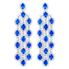 Platinum Chandelier Sapphire and Diamond Earrings