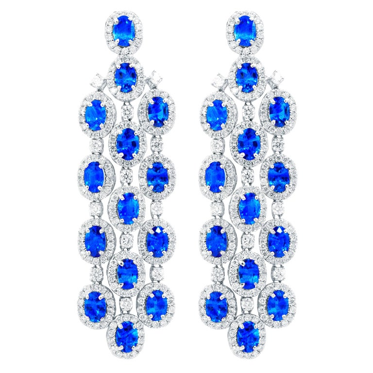 Platinum Chandelier Shire And Diamond Earrings For