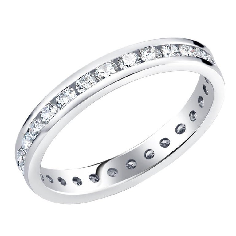 Platinum Channel Set Diamond Eternity Band For Sale 3