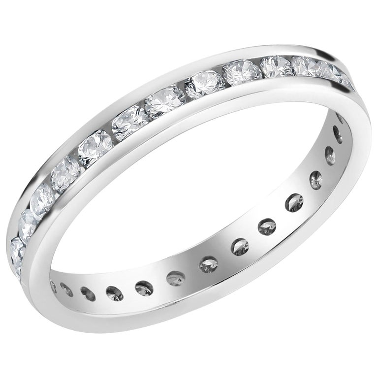 Platinum Channel Set Diamond Eternity Band For Sale