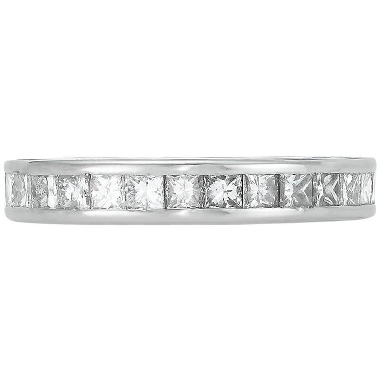 Platinum Channel Set Eternity Band with Diamonds For Sale