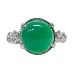 Platinum Chrysoprase Diamond Ring