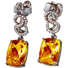 Platinum Citrine White Diamonds Earrings Aenea Jewellery