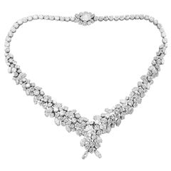 Platinum Cluster Necklace with Pear, Round and Marquise Cut Diamond