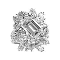 Platinum Cluster Ring with Emerald Cut Diamonds