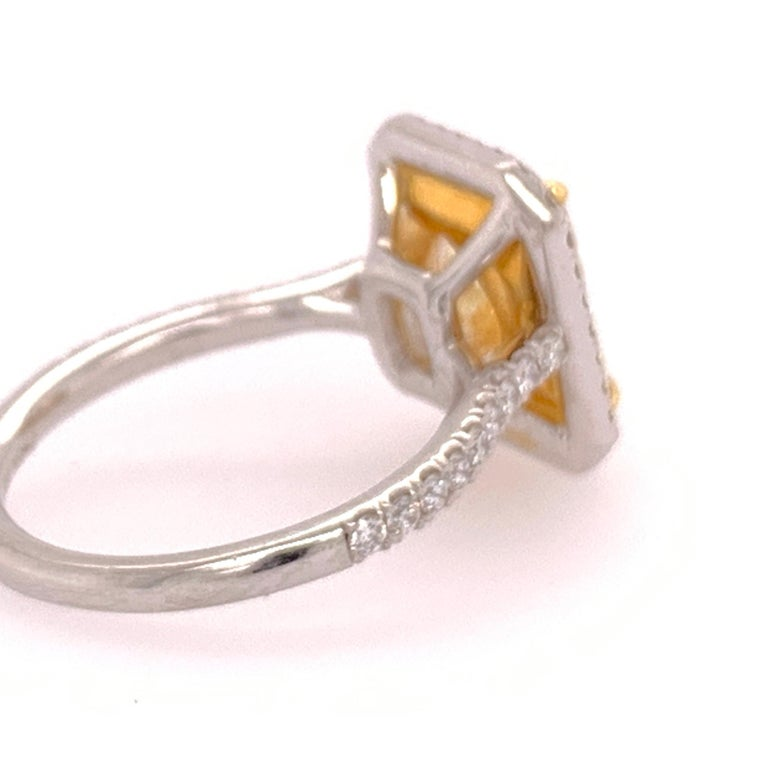 Modern Platinum Cocktail Ring Radiant Cut 3.42 Carat GIA Natural Light Yellow YZ For Sale