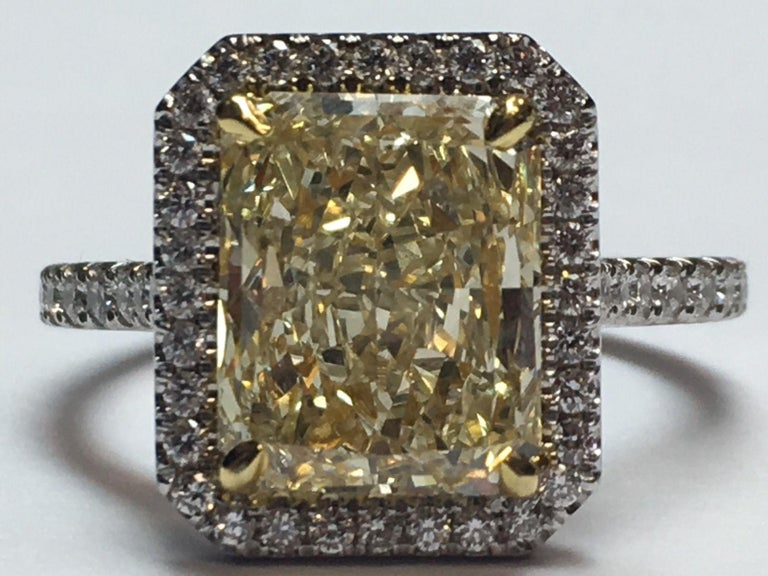 Platinum Cocktail Ring Radiant Cut 3.42 Carat GIA Natural Light Yellow YZ For Sale 4
