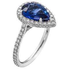 Platinum Cocktail Ring with 2.53 Carat Pear Shape Blue Sapphire