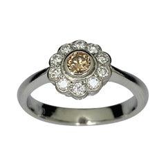 Platinum Cognac Diamond Cluster Ring