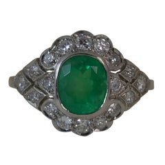 Platinum Colombian Emerald and Diamond Cluster Ring