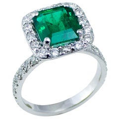 Platinum Colombian Emerald Diamond Cocktail Cluster GIA Certificate Ring