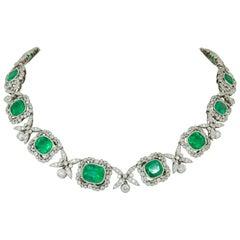 Platinum Colombian Emerald, Diamond Necklace