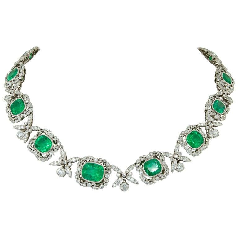 Platinum Colombian Emerald, Diamond Necklace For Sale