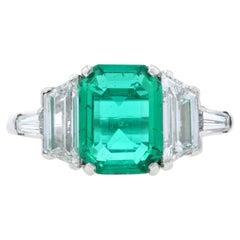 Platinum Colombian Emerald & Diamond Ring, AGL