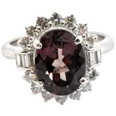 Platinum Color Changing 3.92 Carat Garnet and 0.78 Carat Diamond Halo Ring