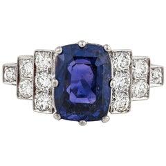 Platinum Color Changing Sapphire Diamond Ring