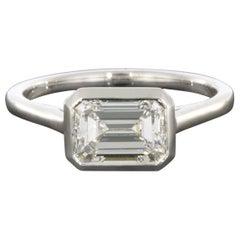 Platinum Colorless 1.56 Carat Emerald Cut Diamond Solitaire Engagement Ring