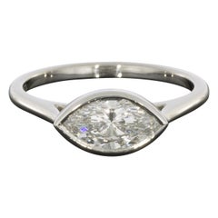Platinum Colorless GIA Certified Marquise Diamond Solitaire Engagement Ring