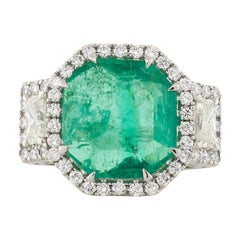 Platinum Columbian Emerald and Diamond Fashion Ring GIA Certiified