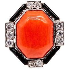 Platinum Coral Diamond Black Enamel Ring
