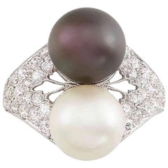 Platinum, Cultured Pearl, Tahitian Black Cultured Pearl and Diamond Ring