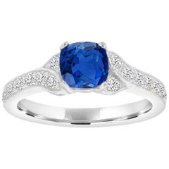 Platinum Cushion Blue Sapphire and Diamond Milgrain Ring Center, 1.25 Carat