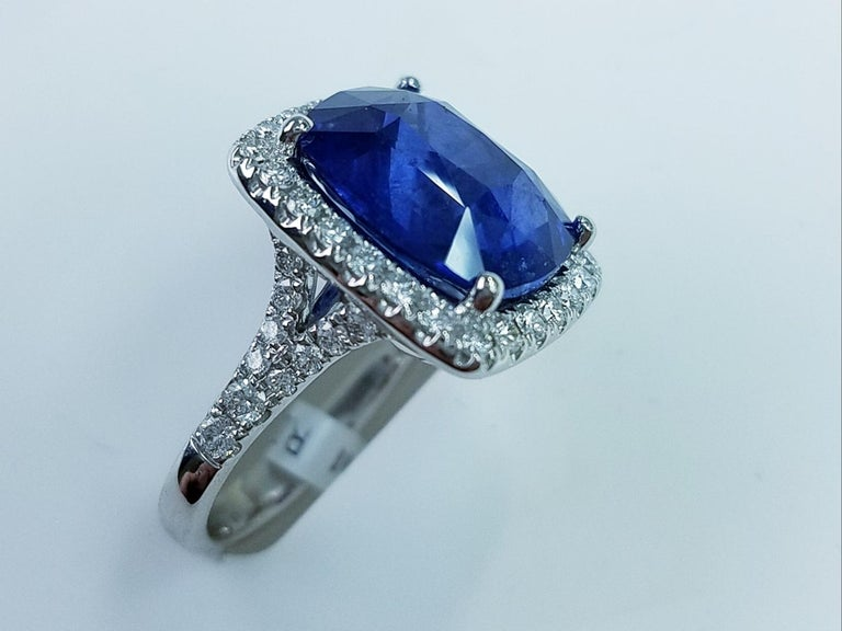 Platinum Cushion Cut Blue Sapphire and Diamond Ring 11.06 Carats of Blue Sapphires 0.91 Carats of Diamonds Cushion Cut