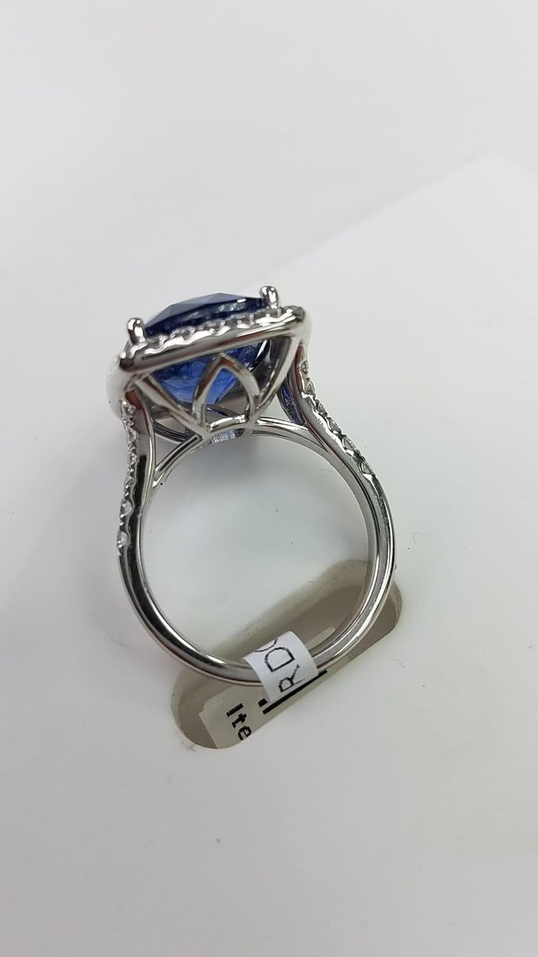 Platinum Cushion Cut 11.06 Carat Blue Sapphire and Diamond Ring In New Condition For Sale In Great Neck, NY