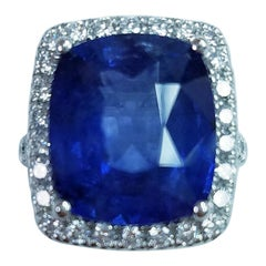 Platinum Cushion Cut 11.06 Carat Blue Sapphire and Diamond Ring