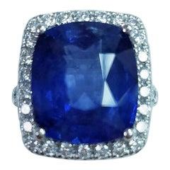 Platinum Cushion Cut 11.06 Carat Blue Sapphire and Diamond Ring