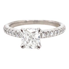 Platinum Cushion Cut Diamond Ring