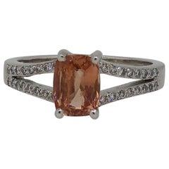 Platinum Cushion Cut Pale Pink Sapphire and Diamond Ring