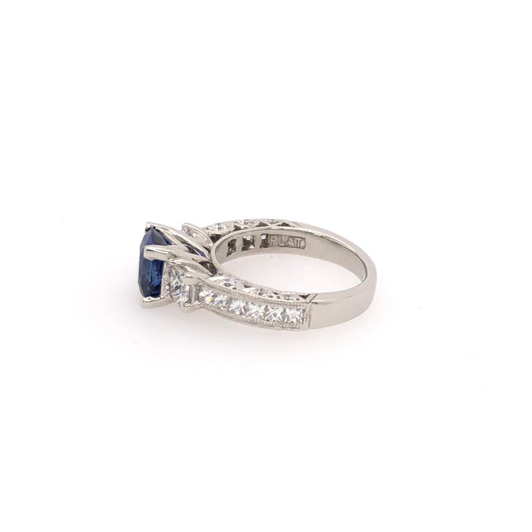 Platinum Cushion Cut Sapphire and Diamond Ring In New Condition For Sale In Dallas, TX