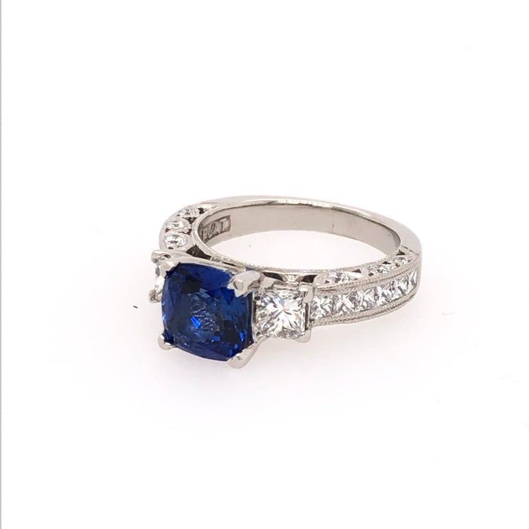 Women's Platinum Cushion Cut Sapphire and Diamond Ring For Sale