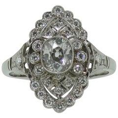 Platinum Cushion Diamond Art Deco Style Marquise Shape Cluster Ring
