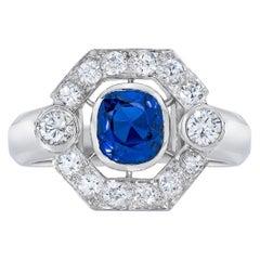 Platinum Cushion Sapphire Diamond Custom Ring